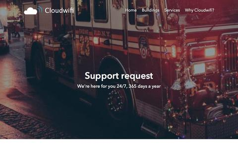 Screenshot of Support Page cloudwifi.ca - Open a support ticket - Cloudwifi - captured July 19, 2018