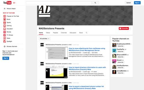 Screenshot of YouTube Page youtube.com - MADSolutions Presents  - YouTube - captured Oct. 23, 2014