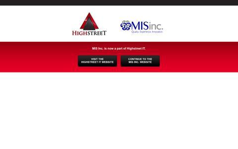 Screenshot of Home Page mis-inc.net - Highstreet IT Solutions - captured Oct. 7, 2014