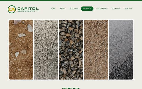 Screenshot of Products Page capitolaggregates.com - Products - captured Oct. 20, 2016