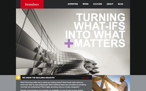 Screenshot of Home Page brandner.com - Brandner Communications | Advertising Agency for Building Products | Building Industry Marketing - captured Oct. 5, 2014