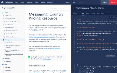 Screenshot of Pricing Page twilio.com - Messaging Country Pricing Resource - Twilio - captured June 13, 2019