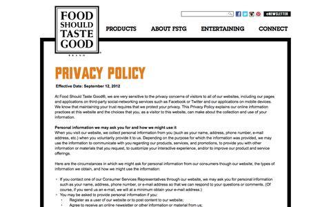 Screenshot of Privacy Page foodshouldtastegood.com - Food Should Taste Good | Privacy Policy - captured Sept. 19, 2014