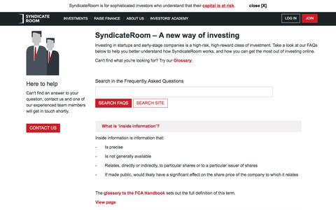 Screenshot of FAQ Page syndicateroom.com - Our most common equity crowdfunding based questions - captured Aug. 18, 2016