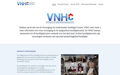 Screenshot of Home Page hoofdpijncentra.nl - Vereniging van Nederlandse Hoofdpijncentra - captured March 14, 2017