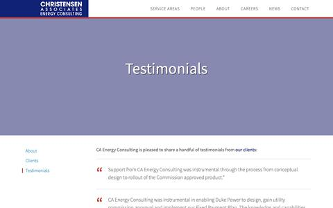 Screenshot of Testimonials Page caenergy.com - Testimonials - Christensen Associates Energy Consulting - captured Sept. 28, 2018