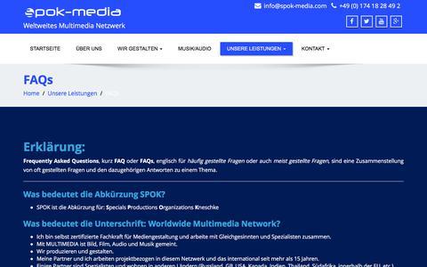 Screenshot of FAQ Page spok-media.com - FAQs   SPOK-Media - captured Dec. 19, 2015