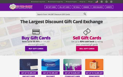 Screenshot of Home Page giftcardgranny.com - Gift Card Exchange & Discount Gift Cards | Save $$$ - captured Aug. 23, 2016