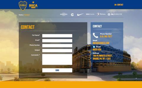 Screenshot of Contact Page usboca.com - Official site Club Atletico Boca Juniors - USA - captured Jan. 29, 2016