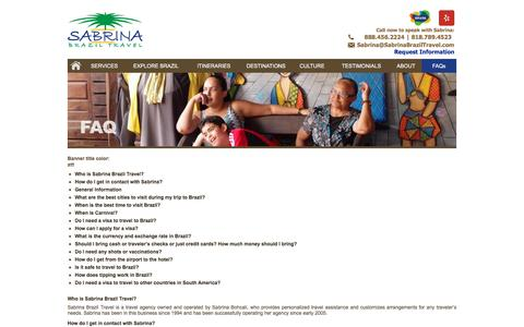 Screenshot of FAQ Page sabrinabraziltravel.com - FAQ - Frequently Asked Questions About Brazil and Traveling to Brazil | Sabrina Brazil Travel - captured May 26, 2017
