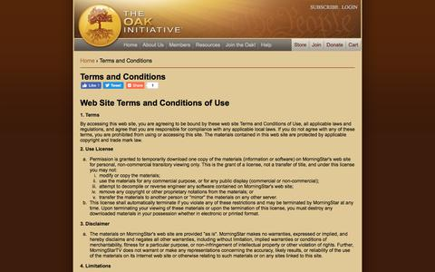 Screenshot of Terms Page theoakinitiative.org - Terms and Conditions   The Oak Initiative - captured Sept. 21, 2018