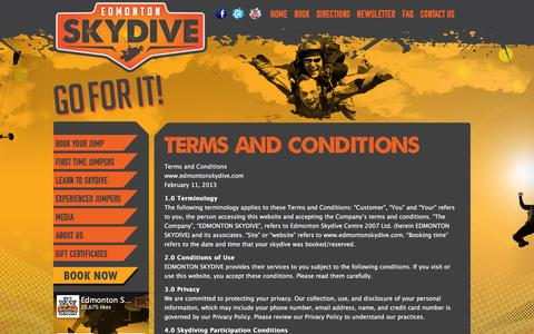 Screenshot of Terms Page edmontonskydive.com - Terms and Conditions | Edmonton Skydive - captured Dec. 7, 2015