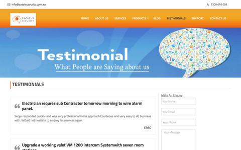 Screenshot of Testimonials Page casalssecurity.com.au - Casals Security Reviews and Testimonials - captured July 17, 2017