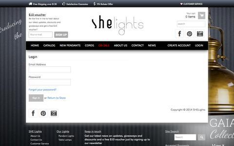 Screenshot of Login Page shelights.com.au - Account | SHE Lights - captured Oct. 3, 2014