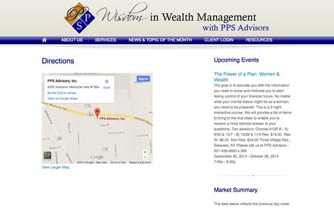 Screenshot of Maps & Directions Page ppsadvisors.com - Directions | Wisdom In Wealth Management - captured Oct. 1, 2014