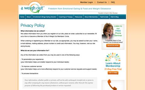 Screenshot of Privacy Page aweighout.com - Privacy Policy - A Weigh Out - captured Sept. 30, 2018