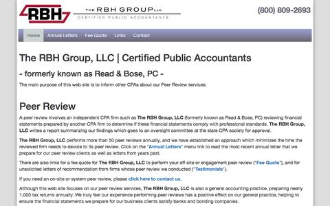 Screenshot of Home Page peer-review.com - Read & Bose, CPA's - Peer Reviews for Certified Public Accountants - captured Feb. 2, 2018