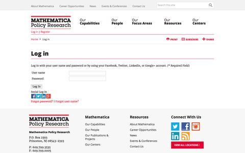 Screenshot of Login Page mathematica-mpr.com - Log in - captured Nov. 27, 2016