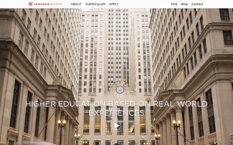 Screenshot of Home Page expinstitute.com - Experience Institute - captured Oct. 1, 2014