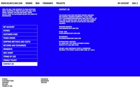 Screenshot of Contact Page helmutlang.com - Helmut Lang | Checkout | Official Site - captured April 18, 2018