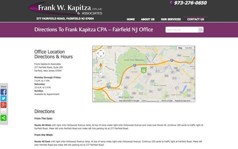 Screenshot of Maps & Directions Page frankkapitza.com - Directions - Frank Kapitza & Associates, Fairfield NJ CPA FirmFrank Kapitza CPA - captured Oct. 6, 2014