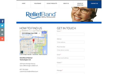 Screenshot of Privacy Page Contact Page reliefband.com - Contact Us - captured Oct. 26, 2014