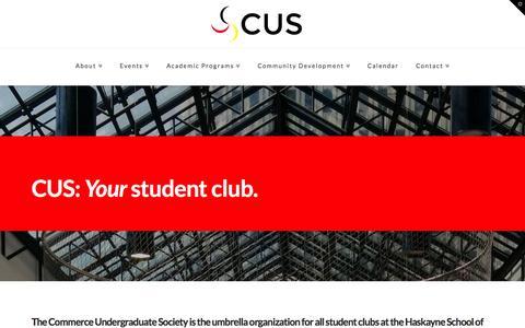 Screenshot of Home Page cuscalgary.ca - Haskayne Commerce Undergraduate Society   The CUS Website! - captured Oct. 1, 2014