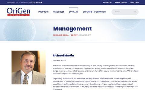 Screenshot of Team Page origen.com - Management - Origen Biomedical - captured June 11, 2018