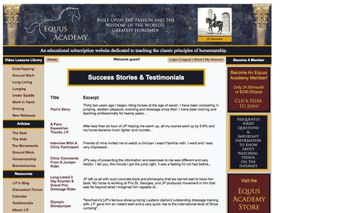 Screenshot of Testimonials Page equus-academy.com - Equus Academy - EndoTapping Video Library - captured Oct. 8, 2014