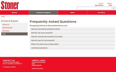 Screenshot of FAQ Page stonersolutions.com - FAQs - captured Feb. 28, 2017
