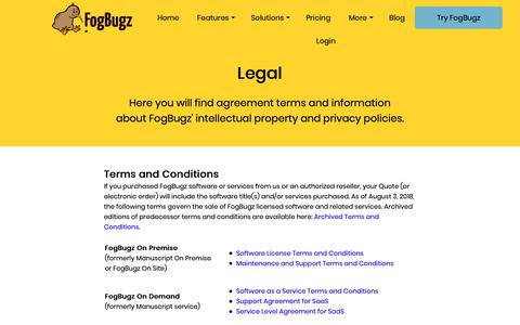 Screenshot of Terms Page fogbugz.com - Legal - captured Dec. 6, 2018