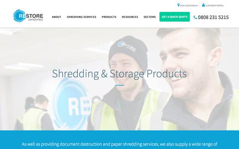 Screenshot of Products Page shredding.info - Our Products, Waste Bins & Containers | Restore Datashred - captured July 12, 2017