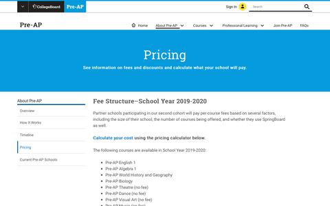 Screenshot of Pricing Page collegeboard.org - Pricing | Pre-AP – The College Board - captured Jan. 4, 2019