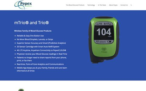 Screenshot of Home Page pepex.com - Pepex Biomedical: New Standard for Biosensor Technology - captured July 3, 2016
