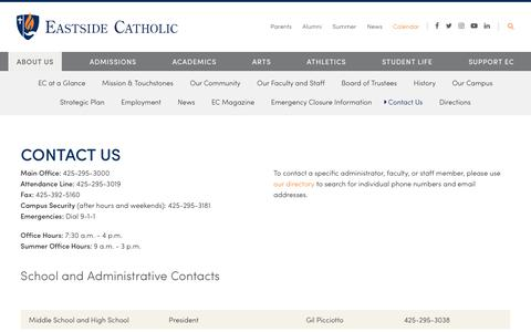 Screenshot of Contact Page eastsidecatholic.org - Contact Us - Eastside Catholic School - captured Sept. 26, 2018