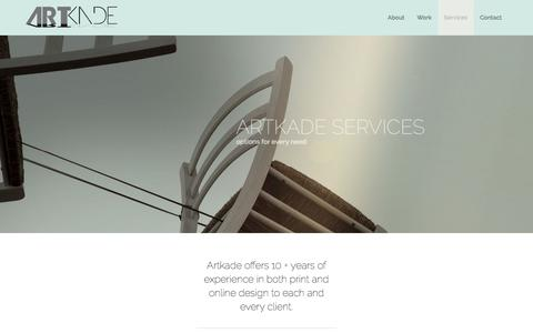 Screenshot of Services Page artkade.com - Services | Artkade | a full-service ad agency - captured Oct. 8, 2017