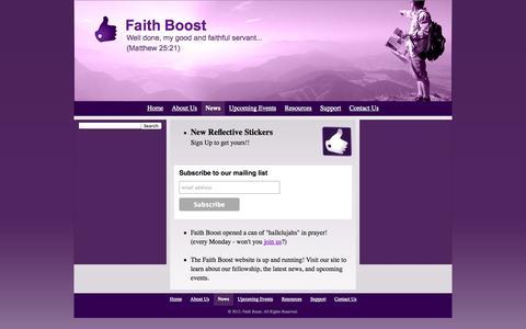 Screenshot of Press Page faithboost.com - News - Faith Boost - captured Oct. 6, 2014