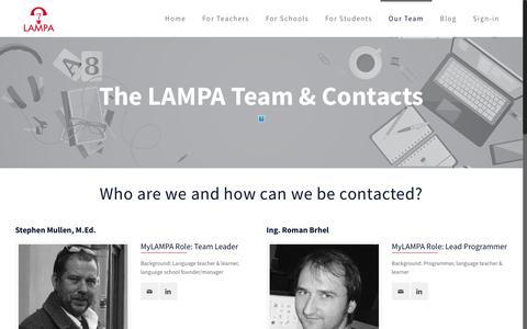 Screenshot of Team Page mylampa.com - Our team and contacts – MyLAMPA - captured Sept. 25, 2018