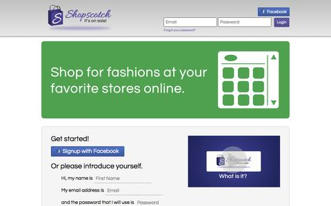 Screenshot of Home Page shopscotch.com - Price Monitoring on Fashions: Clothes, Jewelry, Handbags - Shopscotch - captured Oct. 7, 2014
