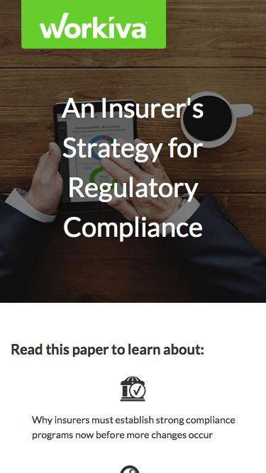 Insurer's Strategy for Regulatory Compliance