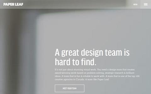 Screenshot of Home Page paper-leaf.com - Paper Leaf | Edmonton Web Design | Edmonton WordPress - captured Sept. 19, 2014