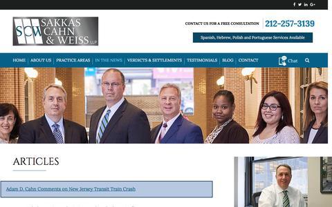 Screenshot of Press Page sakkascahn.com - Articles | Sakkas, Cahn & Weiss, LLP | New York - captured Nov. 18, 2016