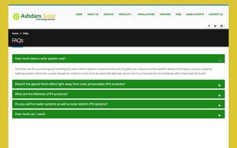 Screenshot of FAQ Page ashdamsolar.com - FAQs | ASHDAM SOLAR - captured Nov. 21, 2016