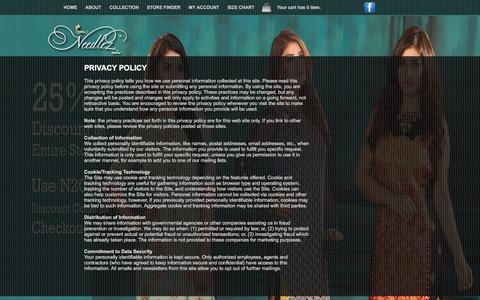Screenshot of Privacy Page needlezbyshalimar.com - Needlez by Shalimar :: Designer Embroidered Fabric in Pakistan : Privacy Policy - captured Jan. 11, 2016