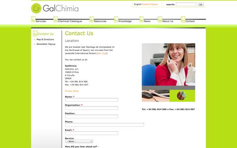 Screenshot of Contact Page galchimia.com - Biotechnology Contract Research | Contact - captured Oct. 1, 2014