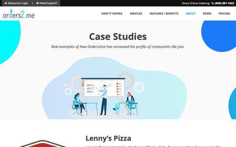 Screenshot of Case Studies Page orders2.me - Case Studies - Orders2me - captured Nov. 15, 2018
