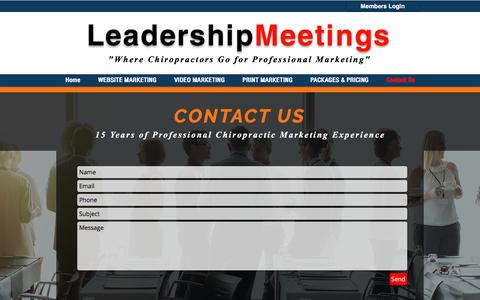 Screenshot of Contact Page leadershipmeetings.com - Professional Grade Websites and Video Marketing for Chiropractors - captured Nov. 3, 2016