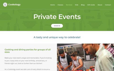 Screenshot of Services Page cookologyonline.com - Private Events | Cookology - captured Sept. 29, 2018