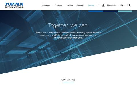 Screenshot of Contact Page toppanmerrill.com - Toppan Merrill   Contact - captured June 27, 2019