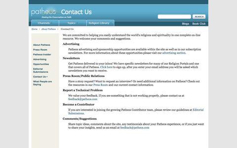 Screenshot of Contact Page patheos.com - Contact Us | Patheos - captured Jan. 31, 2017